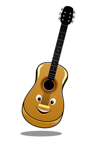 Cartoon wooden country guitar bouncing in the air with a happy smile, isolated on white Vector