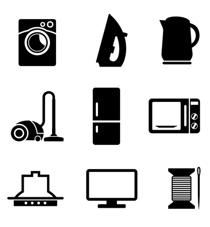 Set of black and white kitchen and home appliances  icons including a vacuum cleaner, kettle, iron, fridge, microwave oven needle and cotton, television and washing machine Vector