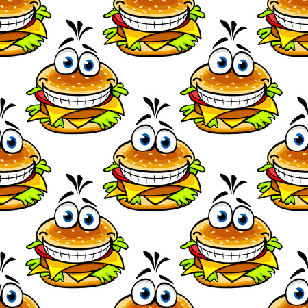 Seamless cartoon cheeseburger pattern with a double helping of cheese and a large toothy smile in a repeat motif Vector