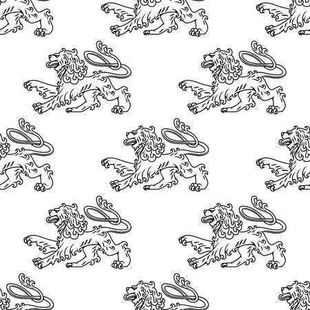 Seamless pattern of a vintage heraldic lion in profile with a curly mane and swirling tail , black and white line illustration in square format suitable for wallpaper and textile