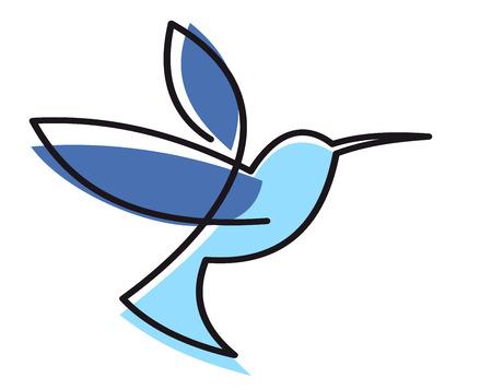 Gestileerde blauwe zweven kolibrie met een zwarte overzicht geïsoleerd op wit Stock Illustratie