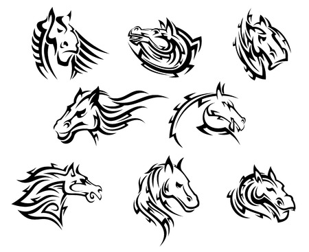Collection of eight different horse tribal  tattoos designs in black and white Illustration