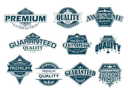 denoting: Collection of labels denoting Premium Quality with various texts including premium, quality, guaranteed, awesome and satisfaction on different shaped shields in blue on white Illustration