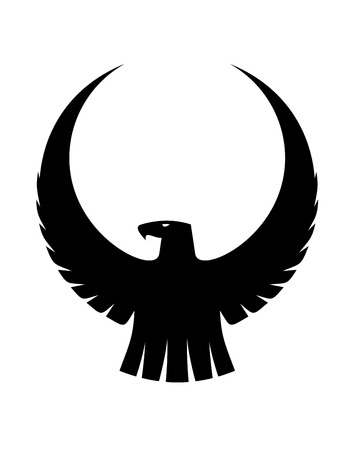 Black and white silhouette of graceful eagle with arched wings enclosing central copyspace for heraldry design