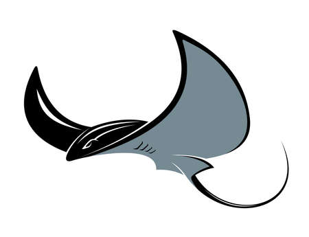 Swimming manta ray with its wing-like pectoral fins in a floating movement, cartoon vector mascot isolated on white Vector