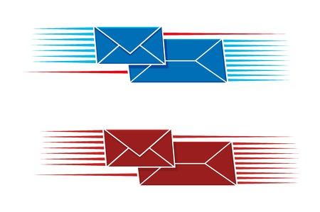 either: Two snail mail icons with two envelopes, one long one small, with a pattern of parallel lines on either side in red and blue, vector illustration on white Illustration