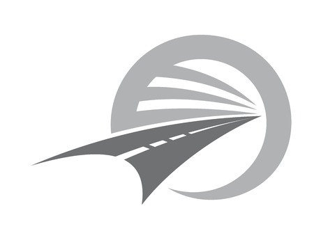 kurve: Stilisierte Straße mit Mittelmarkierung verschwindet bis unendlich oder einem Fluchtpunkt in einem Kreis darstellt Straßenfahrt und Transport, Vektor-Symbol in den Farben grau und weiß Illustration