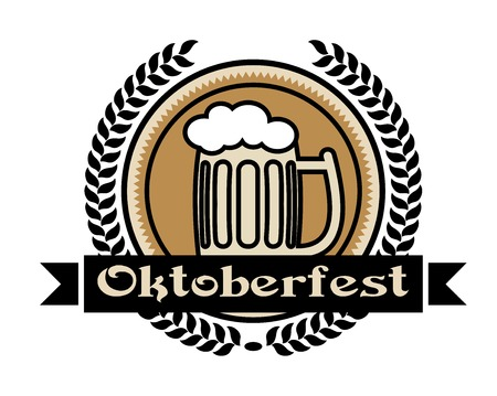 Oktoberfest beer icon or label with a pint of frothy lager in a tankard on a centre medallion enclosed within a foliate wreath with the word - Oktoberfest - on a ribbon banner Vector