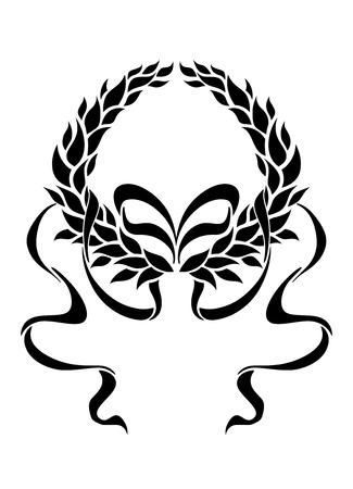 enclosing: Foliate corona di alloro con lunghi nastri strascico in uno schema simmetrico che racchiude vuoto copyspace bianco, bianco e nero silhouette