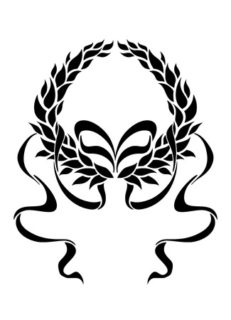 enclosing: Foliate laurel wreath with long trailing ribbons in a symmetrical pattern enclosing blank white copyspace, black and white silhouette Illustration
