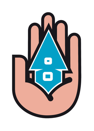 real people: Icon of house in people hands for real estate industry design Illustration