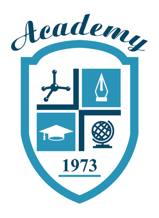 academy: Academy symbol with science elements of molecule, globe, hat and pen for education industry design Illustration