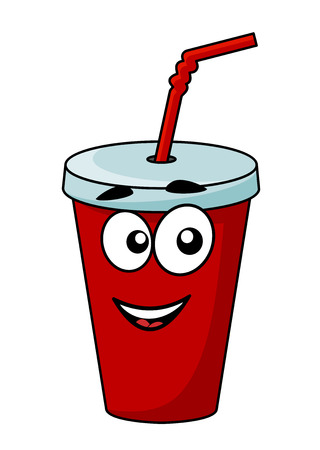 refreshments: Cartoon takeaway soda drink in a covered cup with a straw with a happy smiling face isolated on white