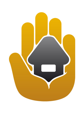 Little house in people hand for safety concept or real estate industry Vector