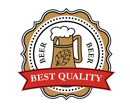 Retro brewery label with beer tankard, red ribbon and decorative elements Vector