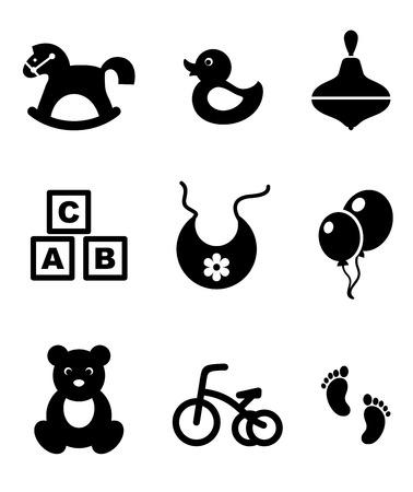 Conjunto de nueve diferentes iconos en blanco y negro que representa a un bebé caballo mecedora, pato, trompo, bloques del abc, babero, globos, triciclo y huellas, ilustración vectorial aislados en blanco