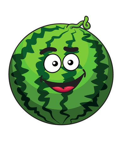 squiggly: Happy green cartoon watermelon fruit with a cute squiggly stem and happy grin, isolated on white