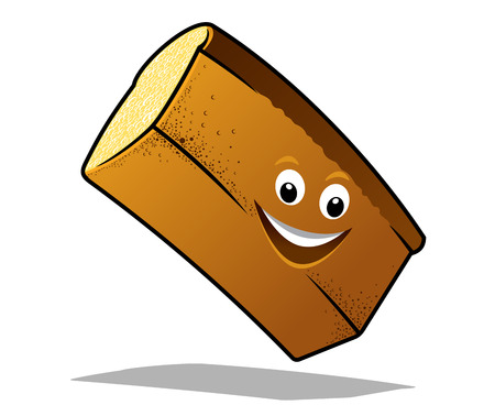 Bouncing happy loaf of fresh white bread with a big smile and shadow in cartoon style Vector