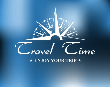 Travel header with vintage compass and text for tourism and journey design in retro style Vector
