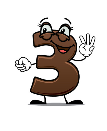 digit 3: Cheerful cartoon number 3 waving his hand showing three fingers with a happy smile suitable for kids