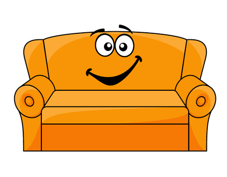 lounge room: Cartoon upholstered orange couch, sofa or settee with a happy smile, vector illustration isolated on white Illustration