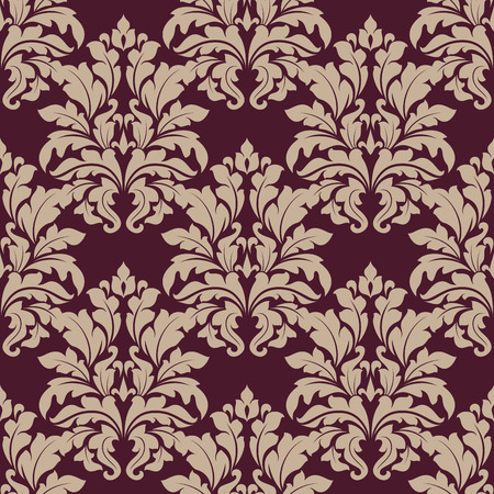 vinous: Seamless dense ornate arabesque pattern in vinous and beige with large foliate motifs in damask style, vector illustration