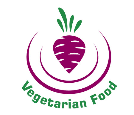 Vegetarian food icon depicting a fresh raw beetroot enclosed in a double curve with the text Vector