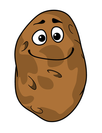 raw potato: Goofy cartoon farm fresh potato with a silly grin and squinting eyes isolated on white
