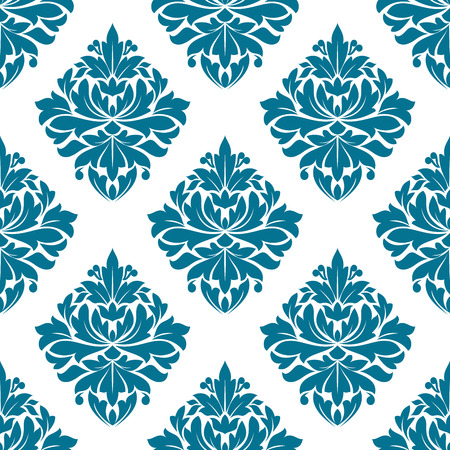 Ornate blue damask style floral pattern in a seamless background pattern with a diamond shaped motif in square format