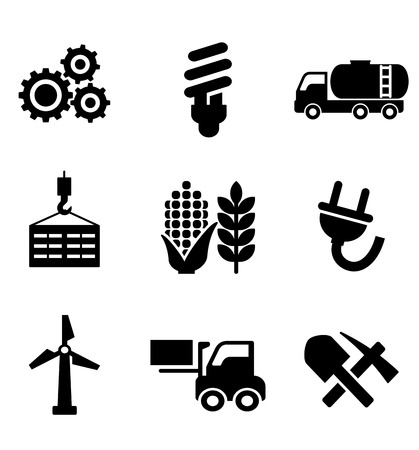 mining machinery: Set of black energy and industry icons depicting machinery, electricity, mining, oil, wind turbine, plug, forklift, agriculture and construction