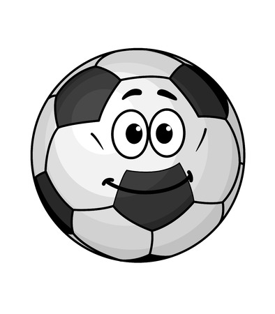 Cartoon soccer ball with a black and white pentagonal pattern and a happy smile Vector