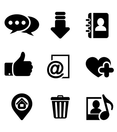 Black multimedia icons set with chat, download, notebook, like, e-mail, home, favorite, media and bin symbols
