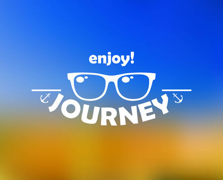 Enjoy journey header with sun glasses on blue and yellow background for travel template design Vector