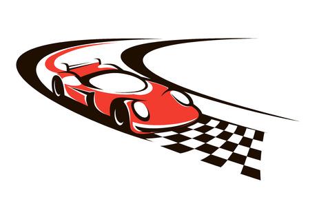 Snelheidsovertredingen racewagen over de finish als het brult rond een bocht in de richting van de geblokte vlag Vector Illustratie