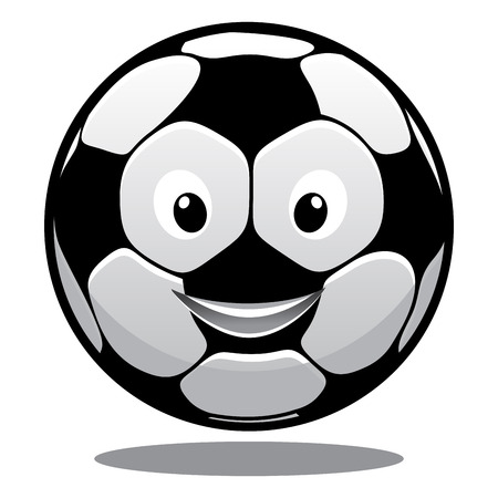 Happy smiling soccer ball with a hexagonal black and white pattern and a bouncing shadow, cartoon illustration Vector