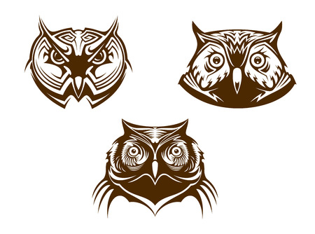 owl tattoo: Three different brown and white owl heads for mascots or tattoo design