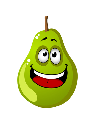 toothy smile: Cute little green cartoon pear with a big toothy smile isolated on white for health food concept