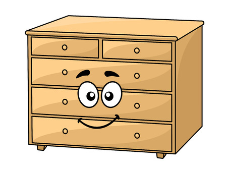 Cartoon wooden chest of drawers with a happy smiling face for interior design Vector