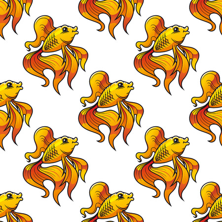 Seamless pattern of colorful golden ornamental goldfish with long fins and tails suitable for textile, tiles or wallpaper, square format Illustration