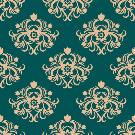 Repeat floral motifs in a seamless vintage arabesque pattern on a green background in square format suitable for damask style fabric and wallpaper Vector