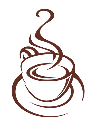 Brown and white doodle sketch of a steaming cup of coffee on a saucer with twirling steam for fast food or restaurant design Vector