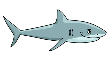 Cartoon smiling ferocious grey shark with an evil grin isolated on white for mascot design Vector