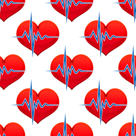 heart valves: Red heart with a heart beat pulse in a healthcare and medical concept in a seamless background pattern in square format