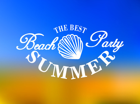 Best beach party poster with golden beach sand and blue sky and a shell icon with the text - The Best Beach Party Summer Vector