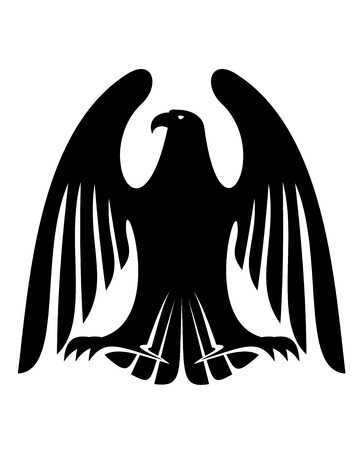 Black eagle silhouette with raised wings and long feathers for tattoo or heraldry design Vector