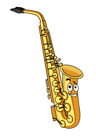 Cartoon brass saxophone with a smiling face for musical design isolated on white Vector