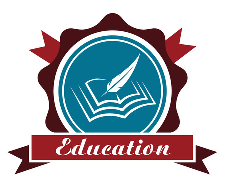 enclosing: Education icon or emblem with a round rosette enclosing a book and feather quill over a ribbon banner with the word - Education - in maroon and blue isolated on white Illustration