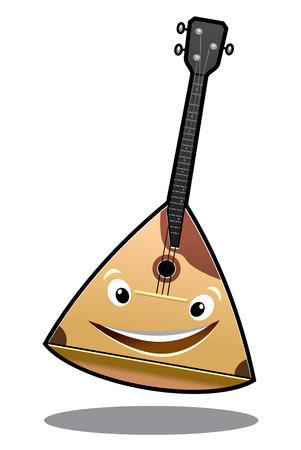 húros: Boldog rajzfilm balalajka húros hangszer, egy nagy mosoly elszigetelt fehér