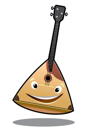 balalaika: Happy cartoon balalaika stringed musical instrument with a big smile isolated on white