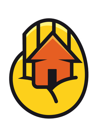 Colorful orange cartoon house cupped in the palm of a hand depicting protection, ownership and security Vector